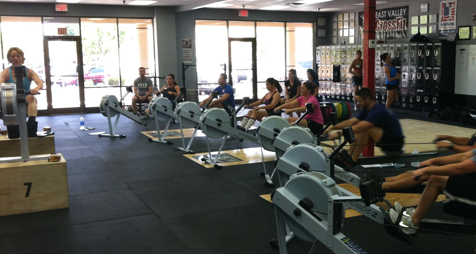 Iron Athlete Coach Kare Williams Leading A Rowing Clinic At East Valley CrossFit