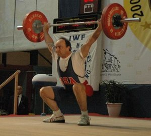 Weightlifting Coach Les Simonton Competing